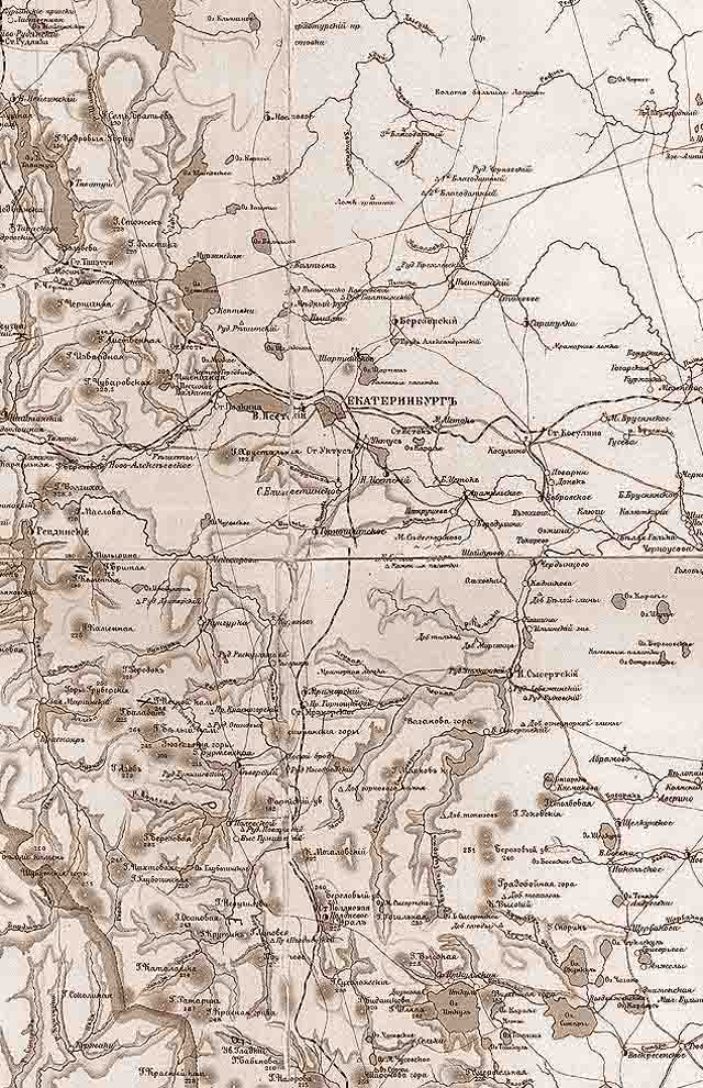 karta ekaterinburgskogo uezda 1903 g. centralnaja chast - Екатеринбургский уезд Пермской губернии. Карта 1903 года