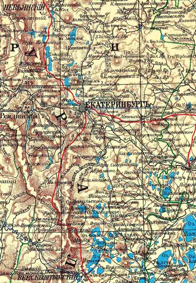 karta ekaterinburgskogo uezda 1903 g. ekaterinburg i okrestnosti - Екатеринбургский уезд Пермской губернии. Карта 1903 года