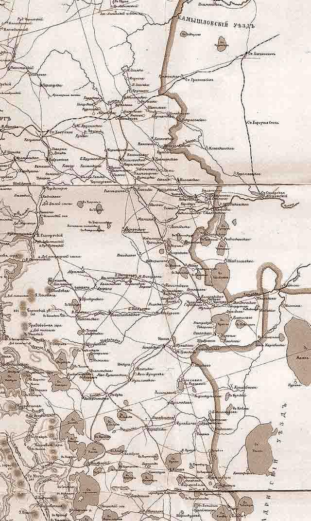karta ekaterinburgskogo uezda 1903 g. vostok - Екатеринбургский уезд Пермской губернии. Карта 1903 года