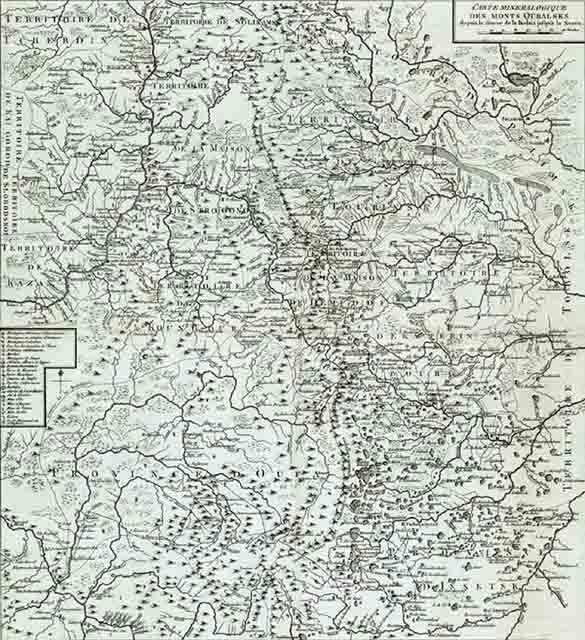 karta urala 1773 goda 2 - Карта Урала 1773 года