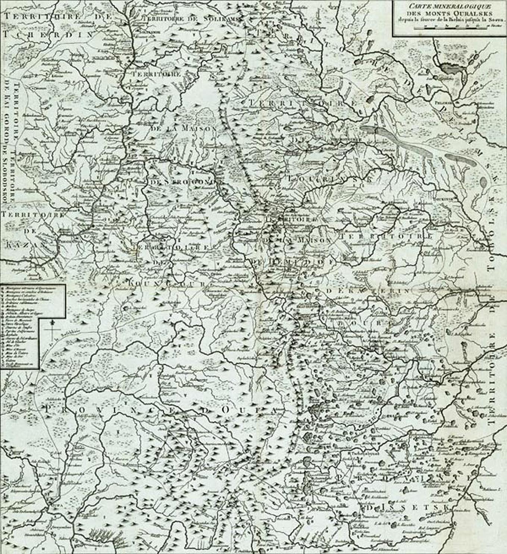 karta urala 1773 goda - Карта Урала 1773 года