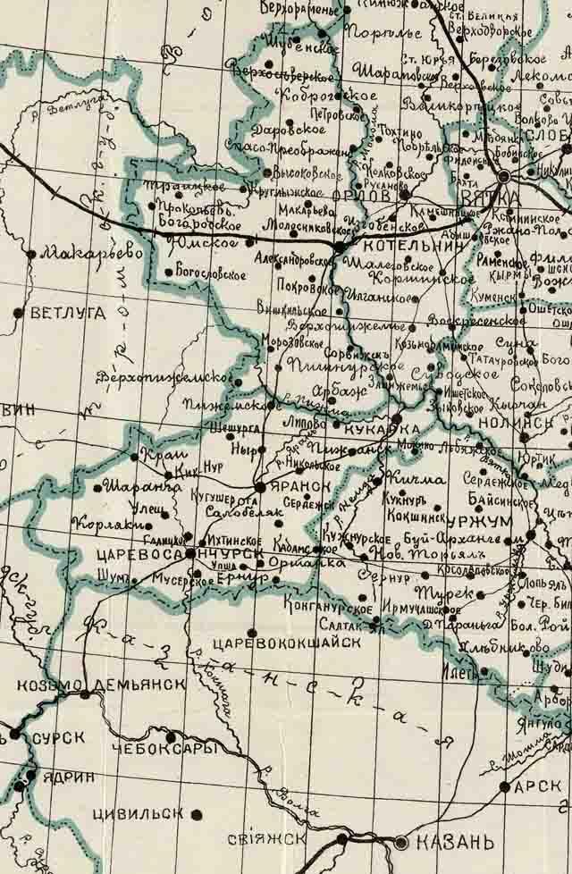 karta vjatskoj gubernii 1907 g. zapad - Карта Вятской губернии 1907 года