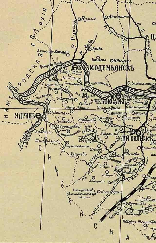 kazanskaja eparhija. karta 1906 g. 3 - Казанская епархия. Карта 1906 года