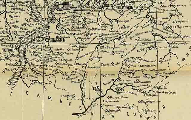 kazanskaja eparhija. karta 1906 g. jug - Казанская епархия. Карта 1906 года