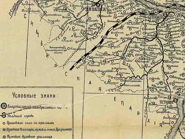 kazanskaja eparhija. karta 1906 g. jugo zapad - Казанская епархия. Карта 1906 года