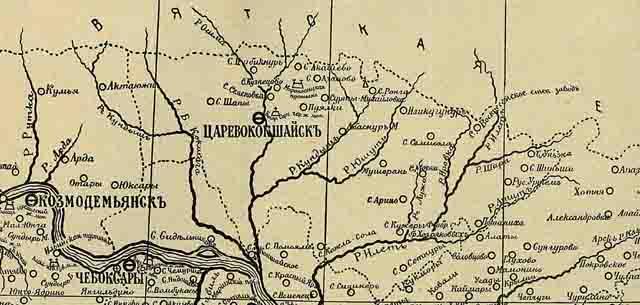 kazanskaja eparhija. karta 1906 g. sever - Казанская епархия. Карта 1906 года
